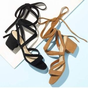 Tan Lace Up Faux Suede Block Heels